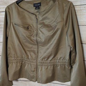 FOCUS 2000 Olive Green Faux Leather Jacket, 18